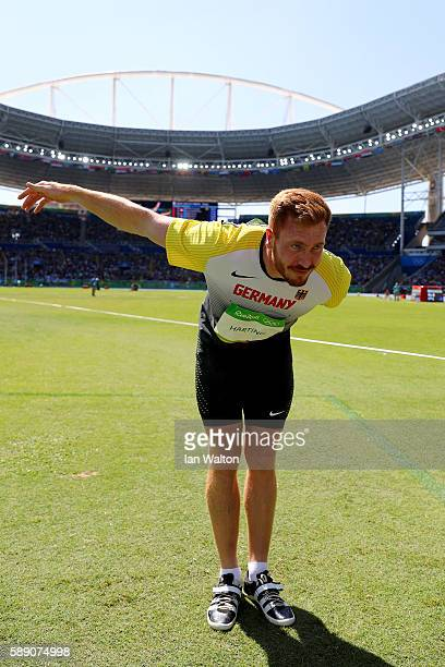 Christoph Harting of Germany salutes the crowd during the Men's Discus Throw Finalon Day 8 of the Rio 2016 Olympic Games at the Olympic Stadium on...