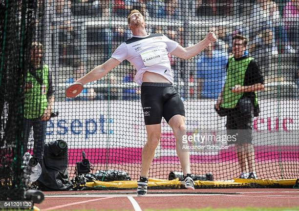 Christoph Harting of SC Charlottenburg competes during the men's discus final during day 2 of the German Championships in Athletics at Aue Stadium on...