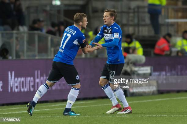 Christoph Hemlein of Bielefeld comes on as a substitute for Konstantin Kerschbaumer of Bielefeld during the Second Bundesliga match between Arminia...