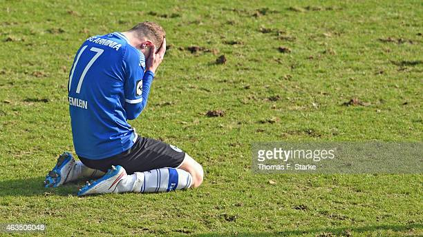 Christoph Hemlein of Bielefeld reacts during the Third League match between Arminia Bielefeld and MSV Duisburg at Schueco Arena on February 15 2015...