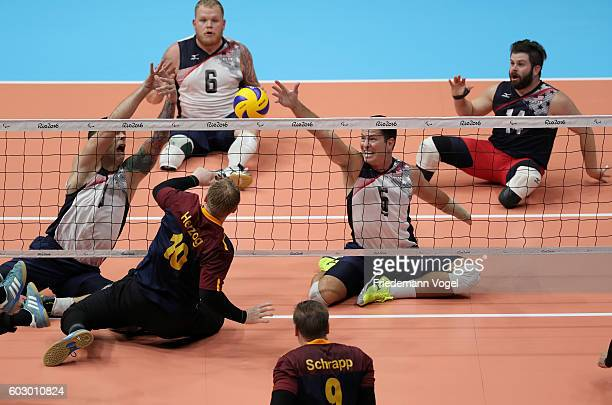 Christoph Herzog of Germany in action during the Sitting Volleyball mach between USA and Germany on day 4 of the Rio 2016 Paralympic Games at the...