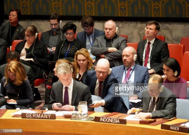 Christoph Heusgen Permanent Representative of Germany to the UN attends the UN Security Council's emergence meeting on the situation in Syria on...