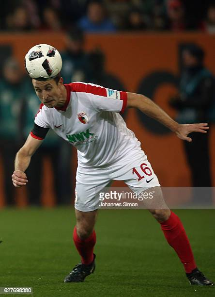 Christoph Janker of Augsburg in action during the Bundesliga match between FC Augsburg and Eintracht Frankfurt at WWK Arena on December 4 2016 in...