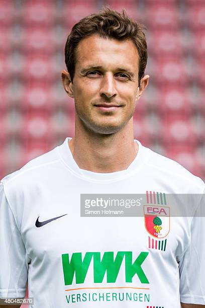 Christoph Janker poses during the FC Augsburg Team Presentation at WWKArena on July 8 2015 in Augsburg Germany