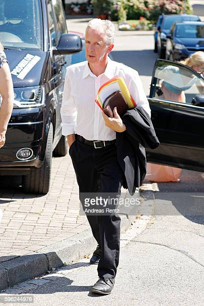 Christoph Koch father of Samuel Koch arrives for the wedding of his son and Sarah Elena Timpe at the local church on August 27 2016 in Mappach near...