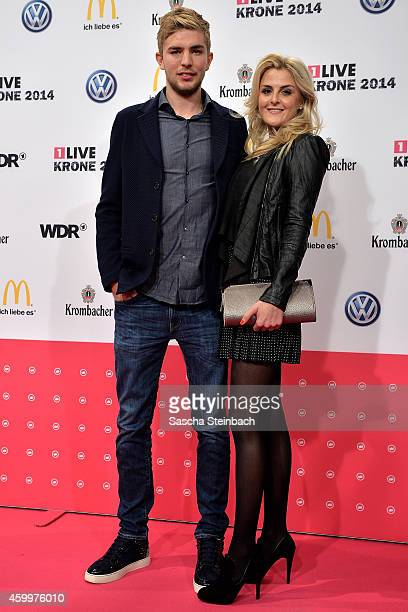 Christoph Kramer and his girlfriend Celina attend the 1Live Krone 2014 at Jahrhunderthalle on December 4 2014 in Bochum Germany