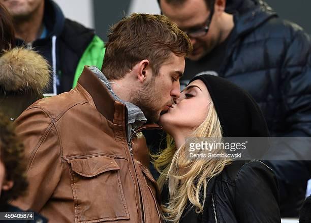 Christoph Kramer and his girlfriend Celina attend the Bundesliga match between Borussia Moenchengladbach and Eintracht Frankfurt at Borussia Park...