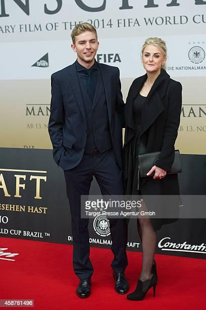 Christoph Kramer and his girlfriend Celina attend the 'Die Mannschaft' premiere at Potsdamer Platz on November 10 2014 in Berlin Germany
