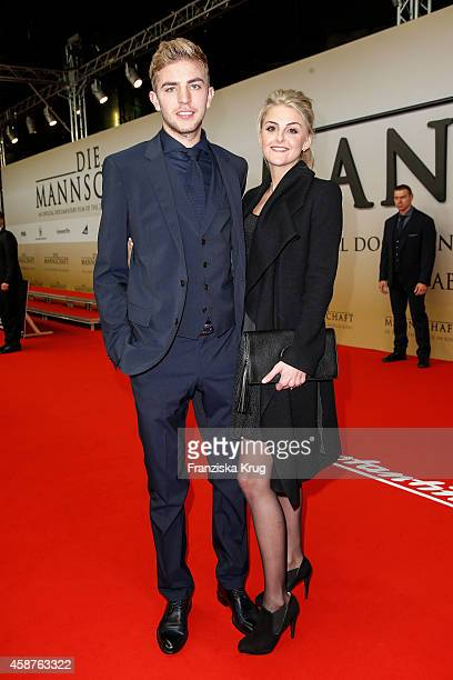 Christoph Kramer and his girlfriend Celina Lauterbach attend the 'Die Mannschaft' Premiere at Sony Centre on November 10 2014 in Berlin Germany