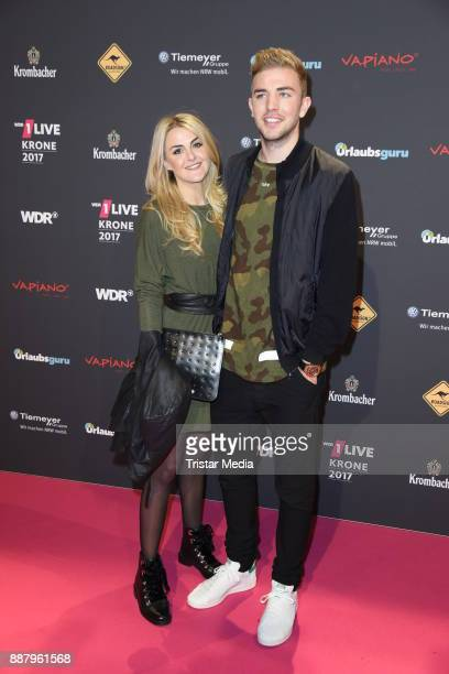 Christoph Kramer and his girlfriend Celina Scheufele attend the 1Live Krone radio award at Jahrhunderthalle on December 7 2017 in Bochum Germany