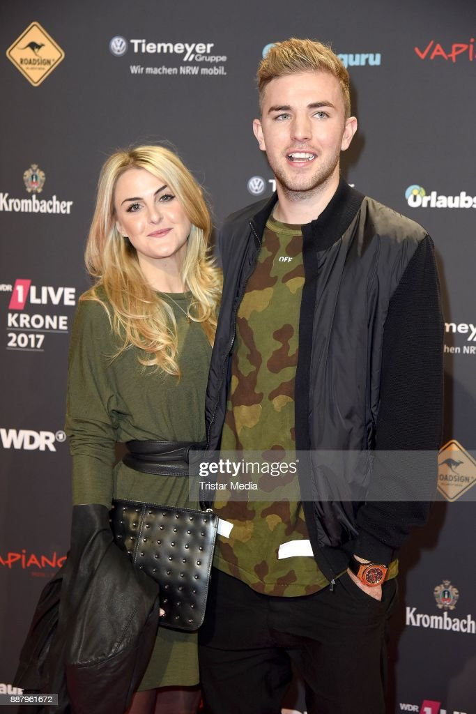 Christoph Kramer and his girlfriend Celina Scheufele attend the 1Live Krone radio award at Jahrhunderthalle on December 7, 2017 in Bochum, Germany.