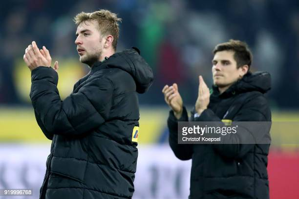 Christoph Kramer and Jonas Hofmann of Moenchengladbach look dejected after losing 01 the Bundesliga match between Borussia Moenchengladbach and...