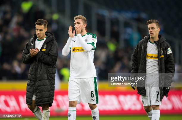 Christoph Kramer Florian Neuhaus and Patrick Herrmann are seen after the Bundesliga match between Borussia Moenchengladbach and Hertha BSC at...