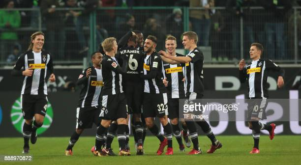 Christoph Kramer of Borussia Moenchengladbach celebrates after scoring his team`s first goal with Oscar Wendt of Borussia Moenchengladbach Lars...