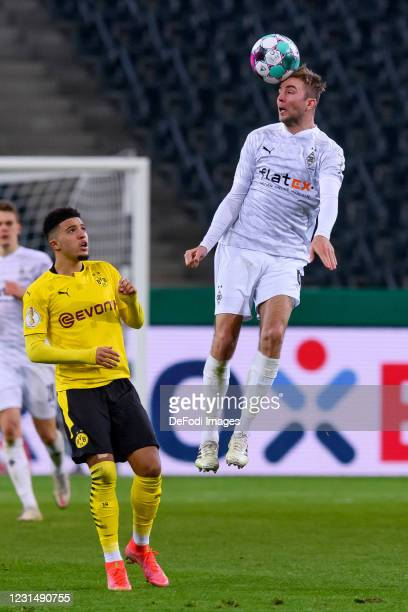 Christoph Kramer of Borussia Moenchengladbach controls the ball during the DFB Cup quarter final match between Borussia Mönchengladbach and Borussia...