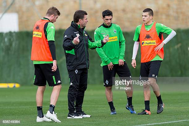 Christoph Kramer of Borussia Moenchengladbach Head couch Dieter Hecking of Borussia Moenchengladbach Lars Stindl of Borussia Moenchengladbach and...