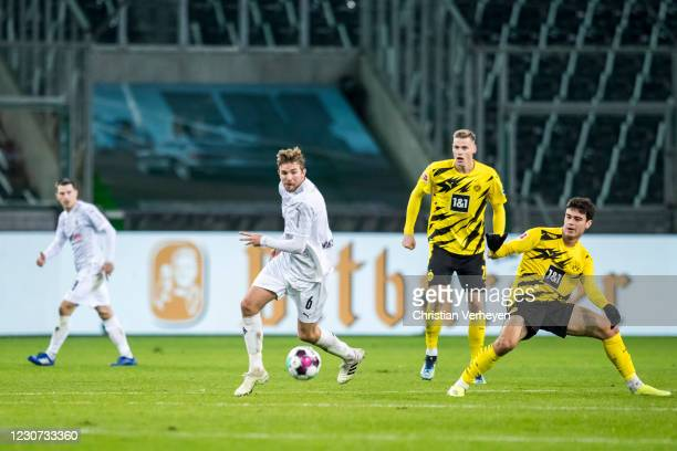Christoph Kramer of Borussia Moenchengladbach in action during the Bundesliga match between Borussia Moenchengladbach and Borussia Dortmund at...