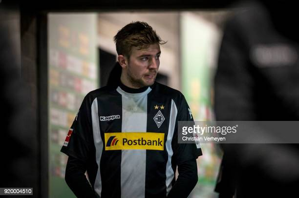 Christoph Kramer of Borussia Moenchengladbach looks concentrated prior the second half of the Bundesliga match between Borussia Moenchengladbach and...