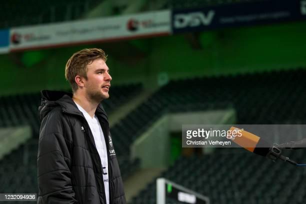 Christoph Kramer of Borussia Moenchengladbach talks to the media after the Bundesliga match between Borussia Moenchengladbach and SC Freiburg at...