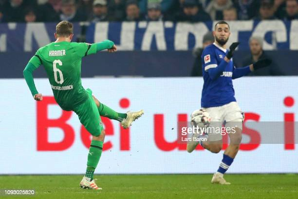 Christoph Kramer of Borussia Monchengladbach scores his team's first goal during the Bundesliga match between FC Schalke 04 and Borussia...