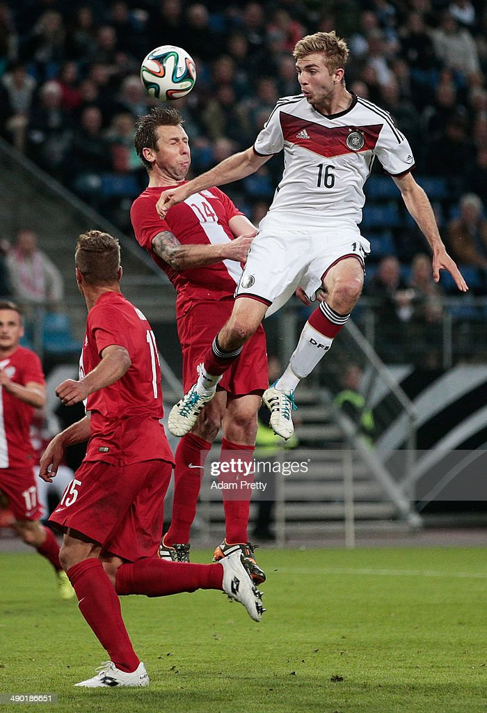 Christoph Kramer of Germany cflies high for a header during the International Friendly match between Germany and Poland at Imtech Arena on May 13, 2014 in Hamburg, Germany.