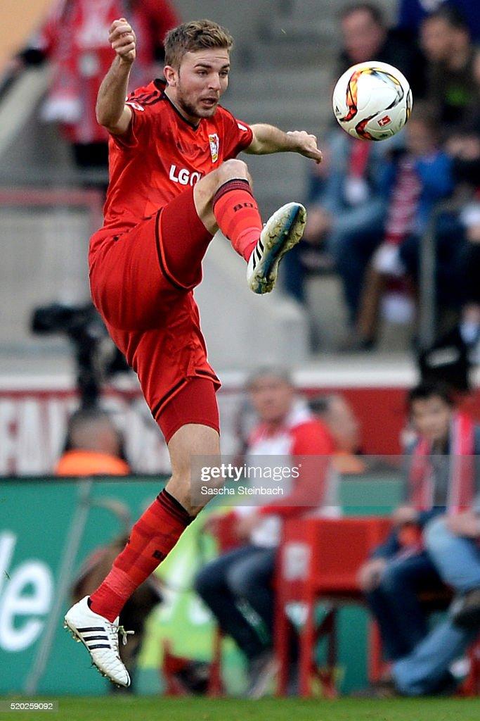 Christoph Kramer of Leverkusen controls the ball during the Bundesliga match between 1. FC Koeln and Bayer Leverkusen at RheinEnergieStadion on April 10, 2016 in Cologne, Germany.