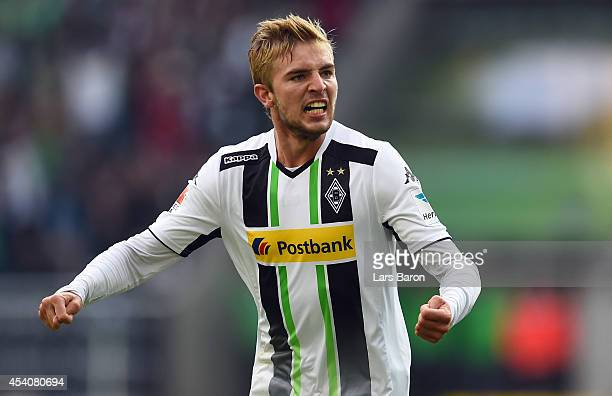 Christoph Kramer of Moenchengladbach celebrates after scoring his teams first goal during the Bundesliga match between Borussia Moenchengladbach and...