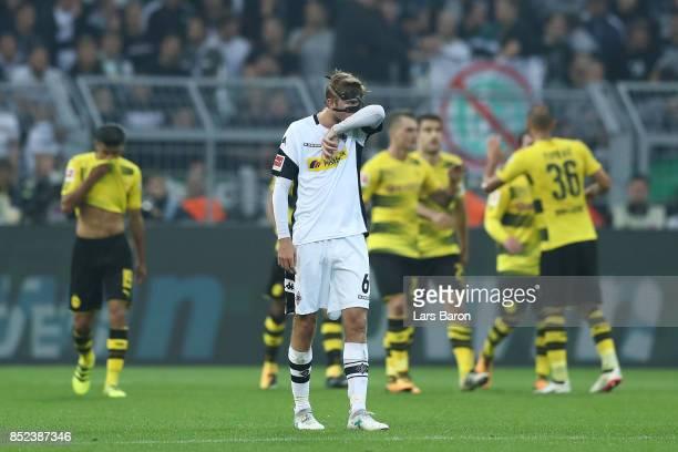 Christoph Kramer of Moenchengladbach dejected after Dortmund scored their third goal to make it 30 during the Bundesliga match between Borussia...