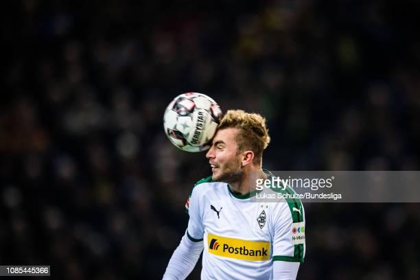 Christoph Kramer of Moenchengladbach heads the ball during the Bundesliga match between Borussia Dortmund and Borussia Moenchengladbach at Signal...