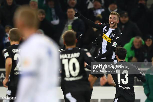 Christoph Kramer of Moenchengladbach jumps and celebrates after he scored a goal to make it 10 during the Bundesliga match between Borussia...