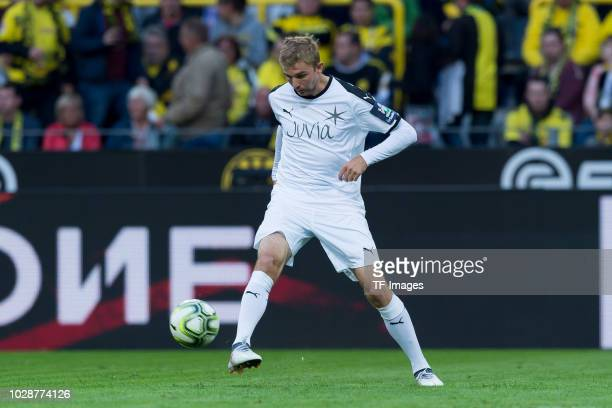 Christoph Kramer of Roman and Friends controls the ball during the Roman Weidenfeller Farewell Match between BVB Allstars and Roman and Friends at...