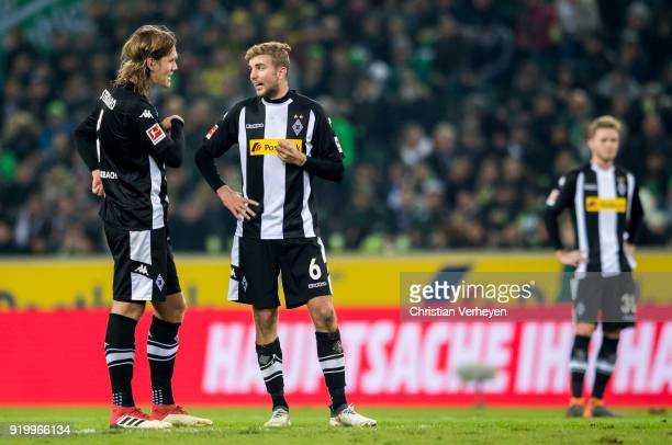 Christoph Kramer talks to Jannik Vestergaard of Borussia Moenchengladbach during the Bundesliga match between Borussia Moenchengladbach and Borussia...