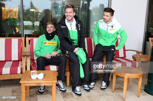 Christoph Kramer Thorben Marx and Julian Korb of Borussia Moenchengladbach at day six of Borussia Moenchengladbach training camp on January 13 2015...