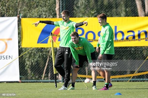 Christoph Kramer Thorben Marx and Max Kruse of Borussia Moenchengladbach during a training session at day four of Borussia Moenchengladbach training...