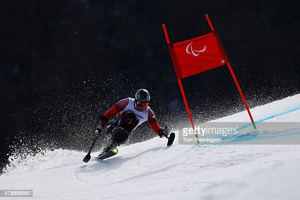 Christoph Kunz of Switzerland competes in the Men's Giant Slalom Sitting during day eight of the Sochi 2014 Paralympic Winter Games at Rosa Khutor...