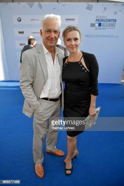 Christoph M Ohrt and Dana Golombek attend the summer party 2018 of the German Producers Alliance on June 7 2018 in Berlin Germany