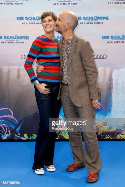 Christoph Maria Herbst and his wife Gisi Herbst attend 'Die Schluempfe Das verlorene Dorf' Berlin Premiere at Sony Centre on April 2 2017 in Berlin...