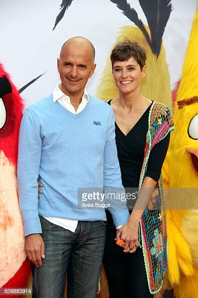 Christoph Maria Herbst and his wife Gisi Herbst attend the Berlin premiere of the film 'Angry Birds Der Film' at CineStar on May 1 2016 in Berlin...