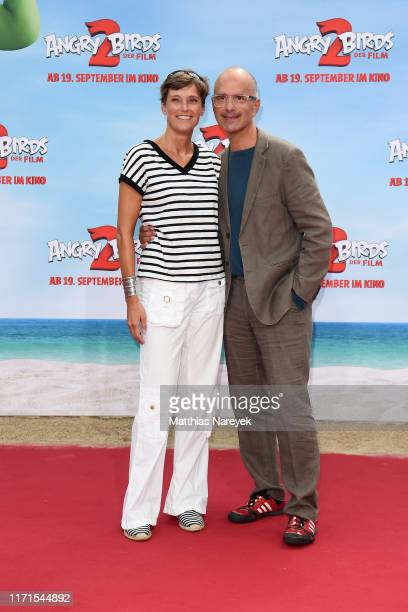 Christoph Maria Herbst and his wife Gisi Herbst attend the premiere of the movie Angry Birds 2 Der Film at CineStar on September 01 2019 in Berlin...