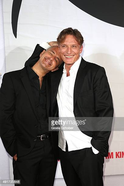 Christoph Maria Herbst and Oliver Masucci during the special screening of the film 'Er ist wieder da' at Mathaeser Filmpalast on October 7 2015 in...