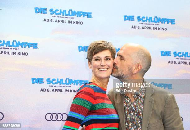 Christoph Maria Herbst and wife Gisi Herbst arrive at the Die Schluempfe Das verlorene Dorf' Berlin premiere at Sony Centre on April 2 2017 in Berlin...