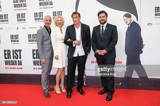Christoph Maria Herbst, Oliver Masucci, Katja Riemann and David Wnendt attend the 'Er ist wieder da' World Premiere on October 06, 2015 in Berlin,...