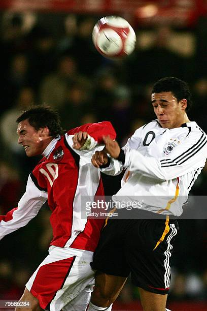 Christoph Mattes of Germany and Aenis Ben-Hatira of Austria during the U20 international friendly match between Germany and Austria at the...