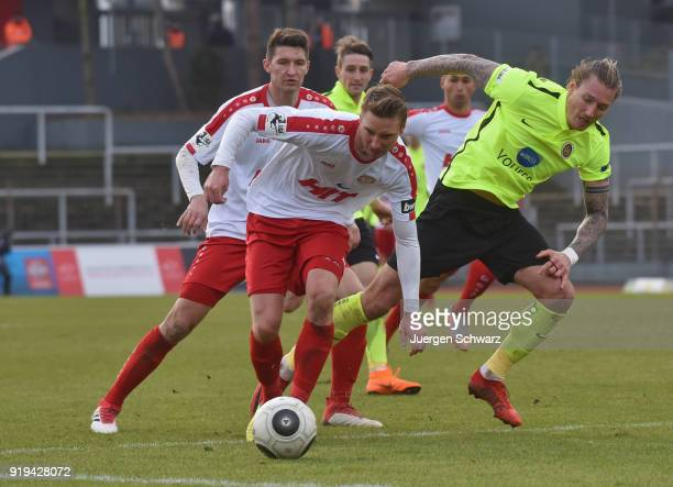 Christoph Menz of Cologne and Manuel Schaeffler of Wiesbaden fight for the ball during the 3 Liga match between SC Fortuna Koeln and SV Wehen...