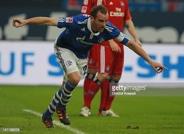 Christoph Metzelder of Hamburg looks dejected during the Bundesliga match between FC Schalke 04 and Hamburger SV at Veltins Arena on March 11, 2012...