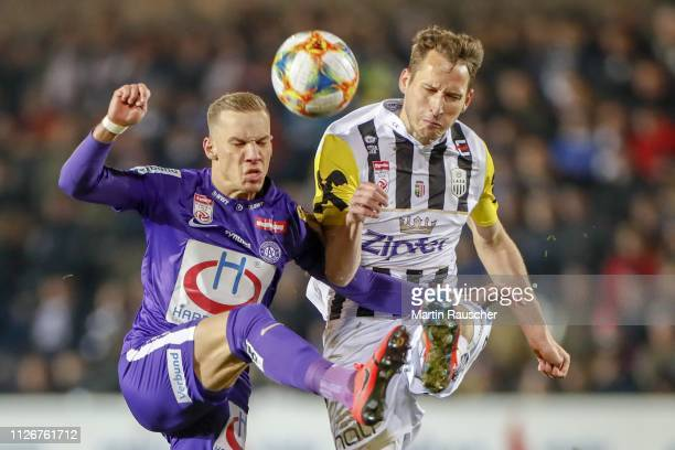 Christoph Monschein of Austria Wien and Christian Ramsebner of LASK during the tipico Bundesliga match between LASK v Austria Wien at TGW Arena on...