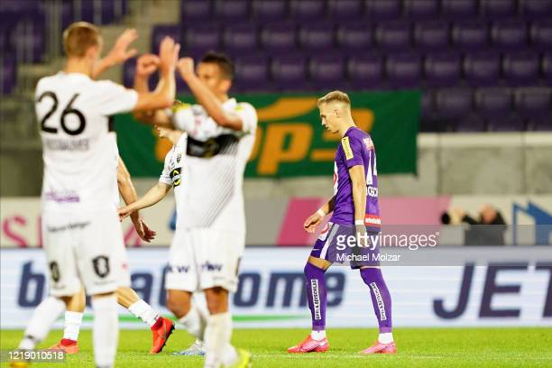 Christoph Monschein of Austria Wien is disappointed after loosing thodays game during the tipico Bundesliga match between FK Austria Wien and...