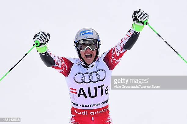 Christoph Noesig of Team Austria wins the gold medal during the FIS Alpine World Ski Championships Nations Team Event on February 10 2015 in Beaver...