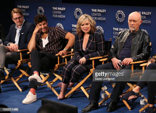Christoph Sanders Jordan Masterson Amanda Fuller and Hector Elizondo from Last Man Standing appear on stage at The Paley Center for Media's 2018...