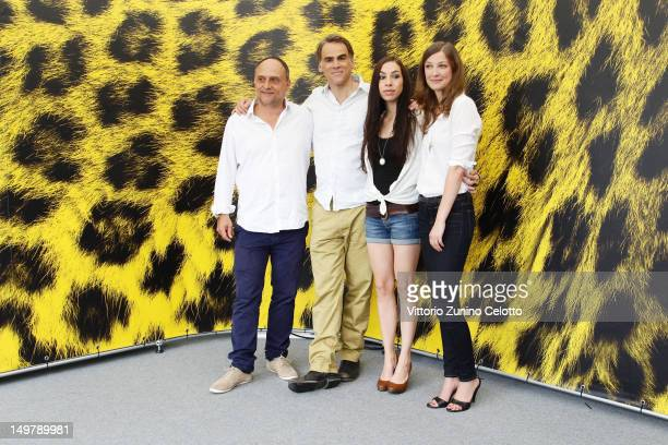 Christoph Schaub Sebastian Blomberg Carol Schuler Alexandra Maria Lara attends 'Nachtlarm' photocall during the 65th Locarno Film Festival on August...